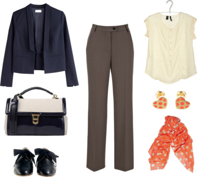 Trousers Inspiration - Fawn with Navy & Orange