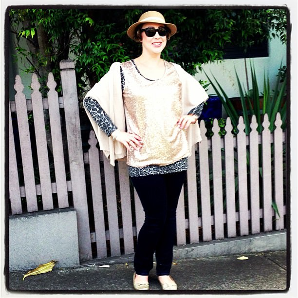 Sequins with jeans, Raybans, vintage hat and animal print