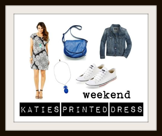 Kimba Likes Katies Printed Dress | styled for weekend casual with resin pendant necklace, cobalt cross body slouch bag, Converse and denim jacket