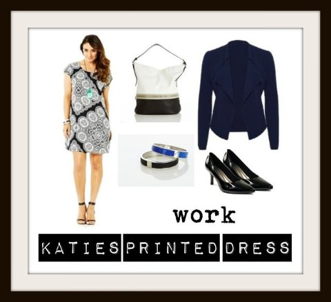 Kimba Likes Katies Printed Dress | styled for work with soft blazer, bucket bag, enamel bangles and patent pointed toe heels