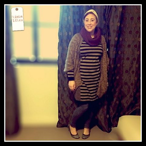 Kimba Likes The SnS Texture Challenge #snstexture | wearing Country Road woollen headband, knitted cowl and cardigan, Millers sweater dress, Marcs skinny track pants, Sambag flats