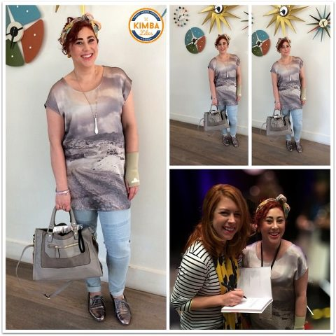 Kimba Likes What I Wore to PB Event | Kirbee Lawler Beauty School Dropout scarf, Katies top, biker jeans, tote, Avalise Jewellery necklace, Ruby Olive earrings, Mimco & Tiffany bangles, Payless New Look flats