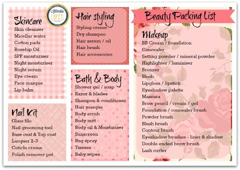 Beauty Packing List - the essential beauty packing list for hair styling, bath & body, skincare, makeup and nails