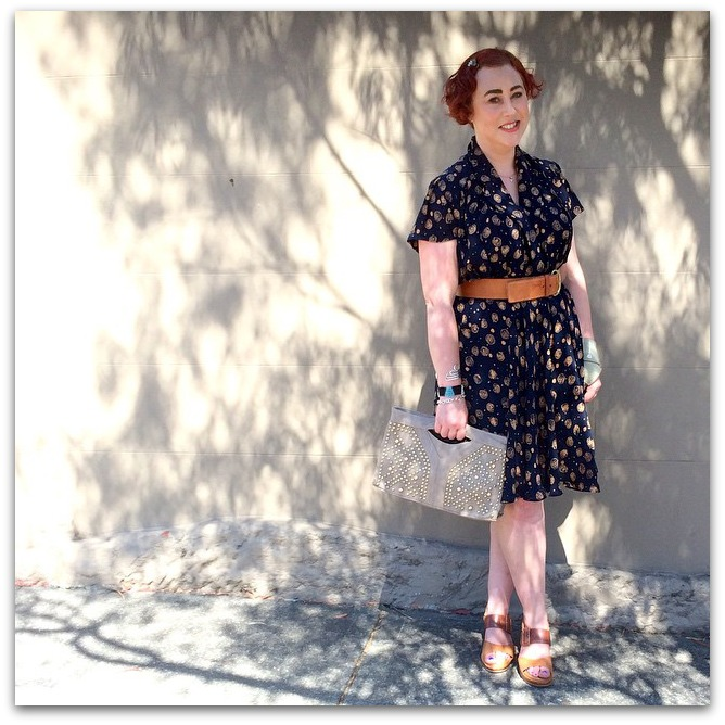 Kimba Likes Frocktober - for day 2 2014 I wore a vintage 90s dress with Ziera wedges, Trenery belt and Anizoe clutch