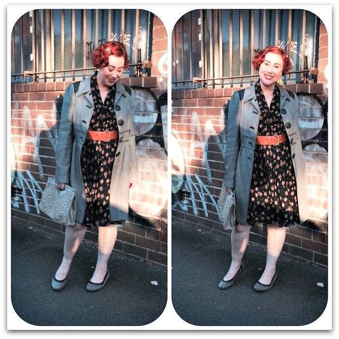 Kimba Likes Frocktober - wearing a 90s vintage dress with Sambag flats, Trenery belt, Katherine check coat and Anizoe clutch