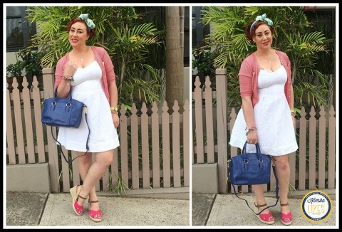 Kimba Likes Frocktober 2014 | Days 11 to 15 | wearing Country Road dress & cardigan, vintage scarf as hairbow, Chloden London bag, Seed wedges