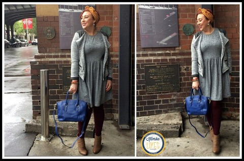 Kimba Likes Frocktober 2014 | Days 11 to 15 | wearing Katies jacket, Popbasic dress, Forever New crochet headband, Chloden London bag, Sussan tights, Nine West ankle boots @kimbalikes