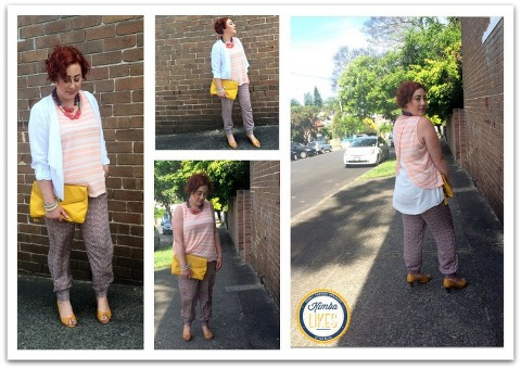 Kimba Likes Katies Summer Outfit under $150 featuring the Waterfall Linen Jacket, Pebble Print Soft Pant and Two Layer Tank styled for a night out with mustard clutch and heels and a statement semiprecious stone necklace