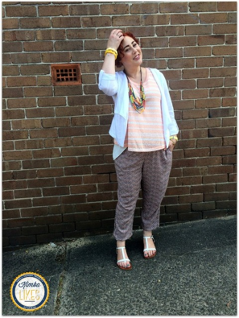 Kimba Likes Katies Summer Outfit under $150 featuring the Waterfall Linen Jacket, Pebble Print Soft Pant and Two Layer Tank styled for casual with white sandals and chunky jewellery by Ruby Olive and Keepresin
