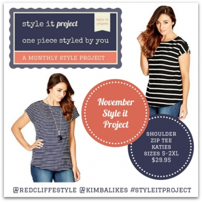 Kimba Likes Style it Project November | Redcliffe Style and I have selected the Katies Zip Shoulder Tee, available in two navy stripe patterns. Buy it, style it, snap it, Instagram it, Tweet it, share it, blog it!
