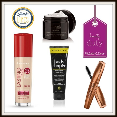 Kimba Likes Beauty Duty - my beauty reviews of BioElixia Bodyshaper Multi Purpose Rescue Balm, Rimmel Wonder'full Argan Oil Mascara, Rimmel Lasting Finish 25 Hour Foundation with Comfort Serum and Philosophy Miracle Worker Overnight moisturiser