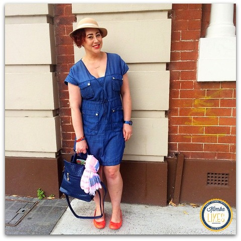 Kimba Likes Denim with a Twist ! I've styled a Seed Heritage denim shirt dress with Sambag flats and a vintage hat @kimbalikes