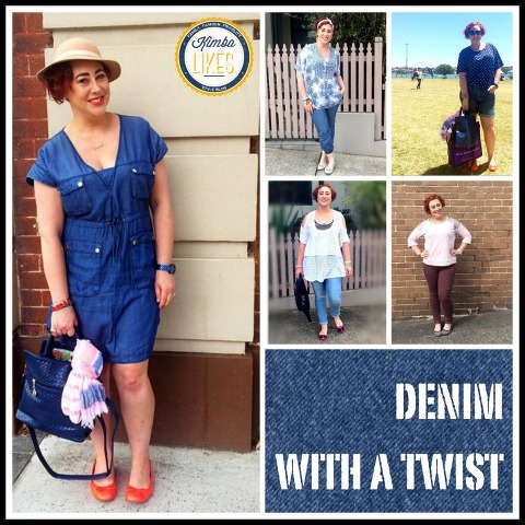Kimba Likes Denim with a Twist!  Thinking outside the box for denim with a denim dress, jeggings, denim joggers, cut off denim, and coloured denim @kimbalikes