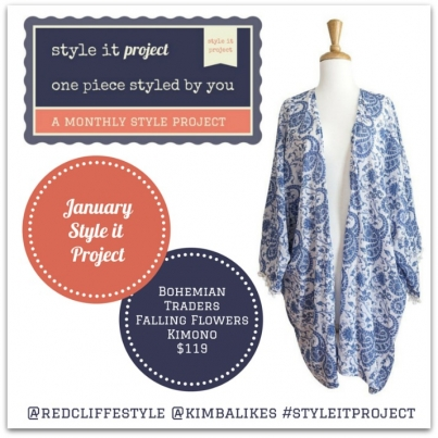Style it Project January 2015 // Bohemian Traders Falling Flowers Kimono