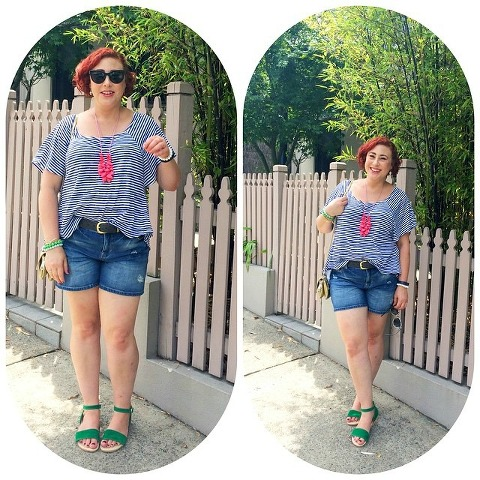 Kimba Likes Weekend Style for Valentine's Day. Wearing Lola vs Harper top, GAP cutoffs, sandals from OzSale, Il Tutto Pixie bag, Ruby Olive necklace, Jet Empire arm party, Charlotte Ronson sunnies