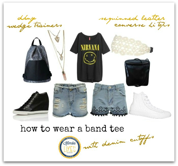 How to wear a band tee with cutoffs @kimbalikes #kimbalikes kimbalikes.com
