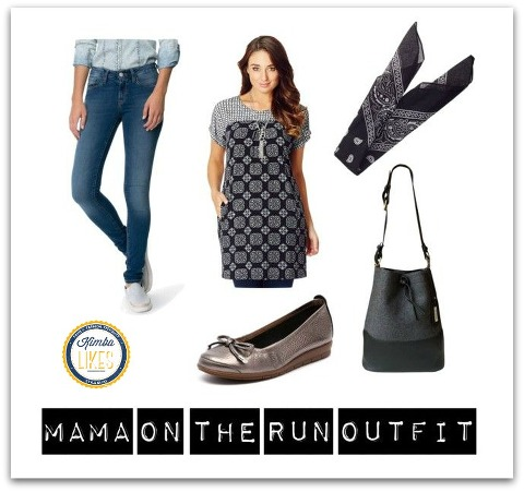 Shop My Style Mama on the Run Outfit | comfy jeans, tunic, ballets, scarf hairbow and tote bag #kimbalikes @kimbalikes kimbalikes.com