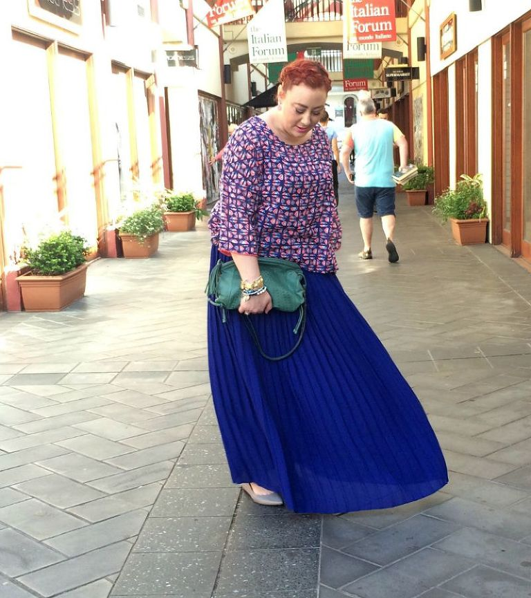 Kimba Likes Weekend Style wearing Country Road cobalt maxi skirt, Boom Shankar top, Mimco bag, Jet Empire, Honeydew & Violet and Dinosaur Designs bracelets, JORD Wood Watch, Country Road flats #style #ootd #kimbalikes