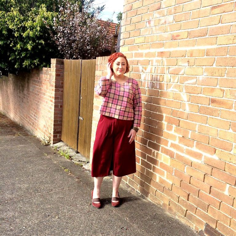 Kimba Likes Pretty in Pink for #SpringFling style challenge - wearing pink plaid crop from Phosizzle Threads, Boohoo culottes and Camper wedges #kimbalikes #springfling
