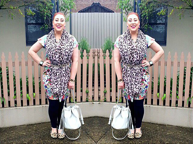 Kimba Likes Floral Fantasy and Leopard Love for #SpringFling style challenge - wearing Shabby Sisters floral dress with leopard scarf, belt and shoes #ShabbySisters #kimbalikes #SpringFling