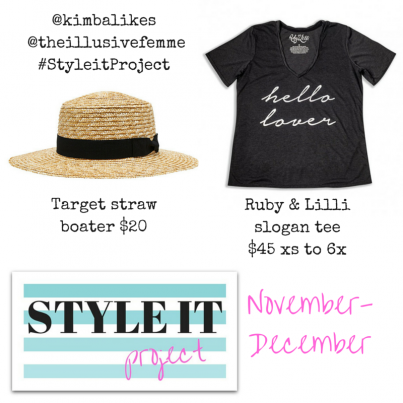 Kimba Likes Style it Project with Kimba Likes and The Illusive Femme | our hero pieces for November and December are the Target Tamara Straw Boater hat and Ruby & Lilli slogan tee #StyleitProject #kimbalikes #theillusivefemme
