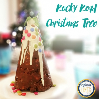 Kimba Likes Christmas - check out this awesome Rocky Road Christmas Tree recipe I found at Whats Cooking Ella, and my variation if you are not nuts about nuts!