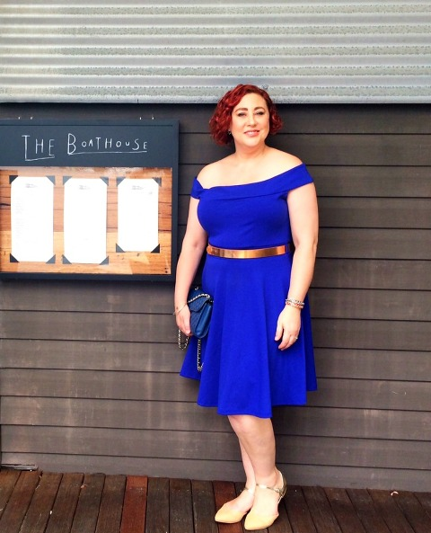 Wearing off the shoulder dress - City Chic skater dress, Seed Heritage rose gold belt, Portmans flats, Rebecca Minkoff bag