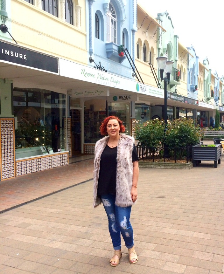 Kimba Likes New Regent Street, Christchurch, NZ - wearing French Connection fur gilet, Ruby & Lilli Marnie Midnight top, Wakee denim from Three Parsons and Ziera sandals
