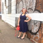 Kimba Likes wearing Revival retro cute polkadot halter neck dress with Rebecca Minkoff Micro Moto satchel, According to Alana Larry the Lobster hairbow, Jewel Collective Rose Venus earrings, Mox flats