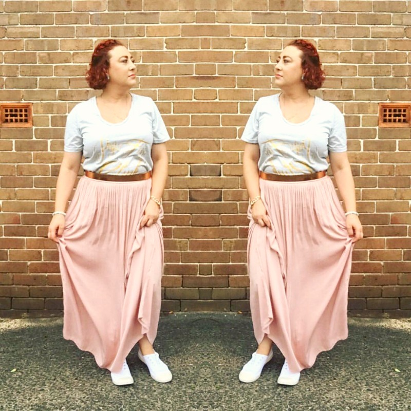 Kimba Likes my week in photos | wearing Ruby & Lilli Pop Fizz Clink T shirt, Seed rose gold belt, Sportsgirl blush maxi, Pavement kicks