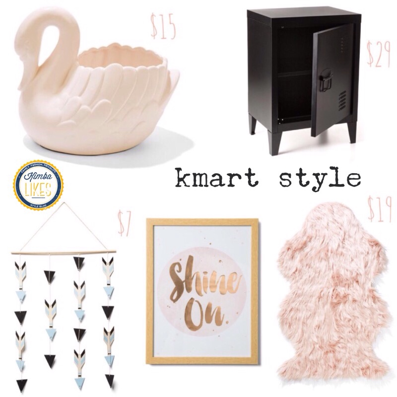 Kimba Likes Kmart Style - currently crushing on industrial chic, rose gold, pink faux fur and retro cute swan planters ... to name just a few