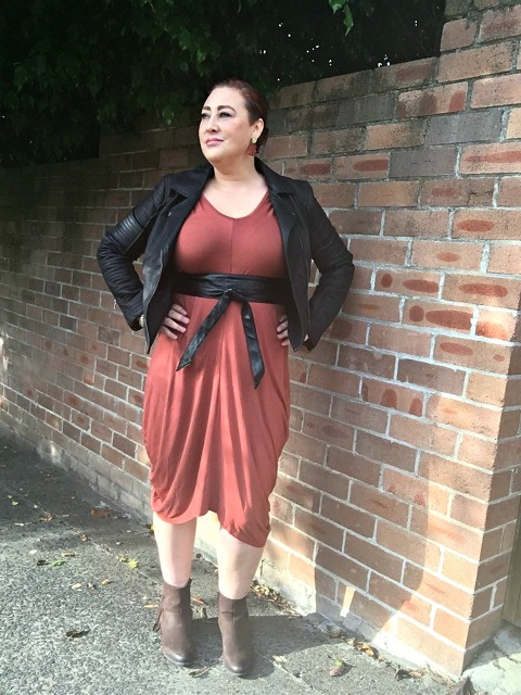 Kimba Likes Autumn Style File - Dissh Boutique leatherette biker jacket, Harlow quilted obi belt, Passion Q dress from White Haven Emporium and Steve Madden boots from Shopbop