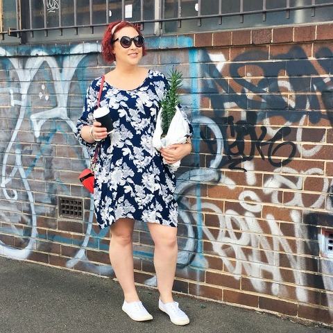 Kimba Likes Autumn Style File - weekend wanders to the markets. Wearing Red Cross Shops sunnies, Lillianna Plus frock from White Haven Emporium, Rebecca Minkoff from Shopbop wallet on a chain, and canvas kicks from Pavement