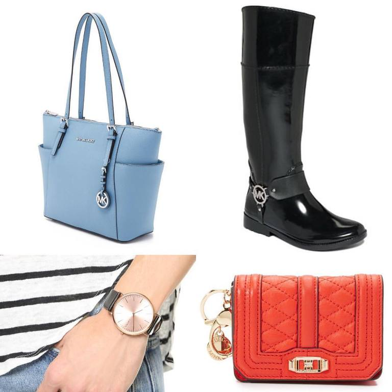 Kimba Likes Shopbop Friends and Family Sale - what I bought. Hello Michael Kors Jet Set tote and Fulton rainboots, Rebecca Minkoff Love coin purse and RumbaTime SoHo leather watch in rose gold