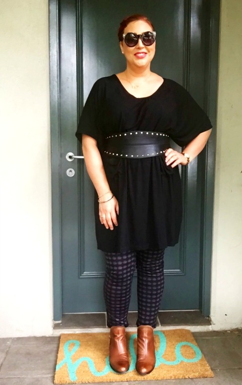 Kimba Likes SPIN the PIN with iCurvy - wearing Lillianna Plus tunic top, Millers ponte leggings, City Chic belt and Planet Shoes boots
