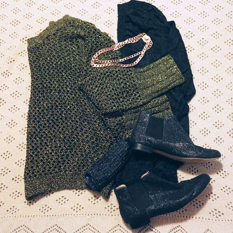 flat lay | lurex knit, glitter boots, sparkle and shine | Spring Fling Style File