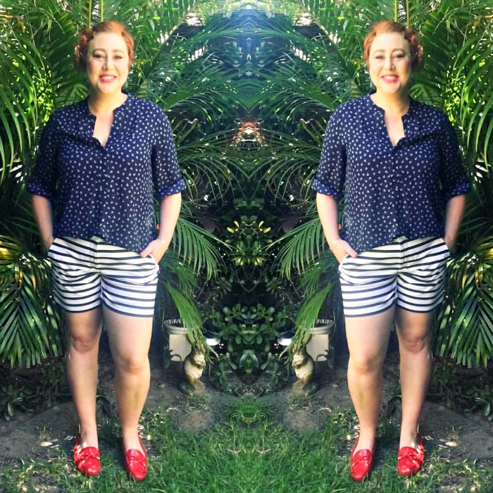 wearing stripe pants for Style it Project | Millers blouse, Rockmans stripe shorts, Michael Kors moccassins