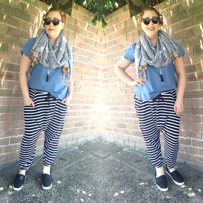 wearing stripe pants for Style it Project   Ruby and Lilli scarf, Rockmans top, Boom Shankar pants