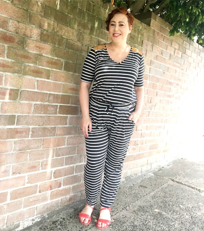 wearing stripe pants for Style it Project   teamed my Ruby and Lilli Classique top and pants for a faux jumpsuit