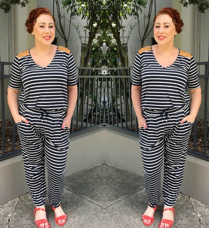 wearing Ruby and Lilli stripe pants for Style it Project