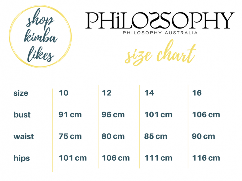 Shop Kimba Likes | Philosophy Size Guide