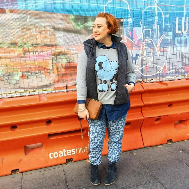 Kimba Likes Layer Player | wearing Gorman sweater, double denim and puffer
