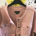 Kimba Likes wearing blush denim jacket from the Kimba Likes Pop Up Shop