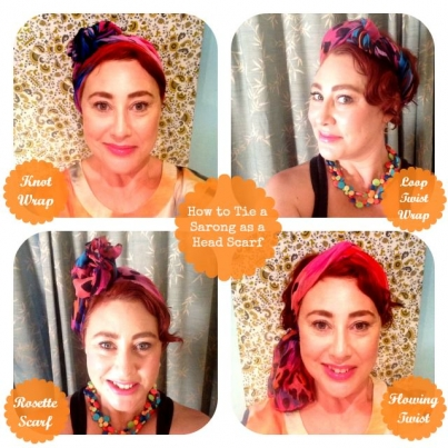 How to tie a sarong as a head scarf
