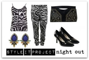 Style it Project September | Peter Morrissey zebra print cami and pants, Anizoe clutch, Payless heels, Shabby Sisters statement earrings