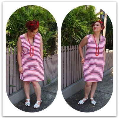 Kimba Likes Frocktober - wearing Bohemian Traders Ahoy Striped Dress with an Oroton scarf hairbow, Gorman sandals and Red Phoenix Emporium necklace for Day 4 2014