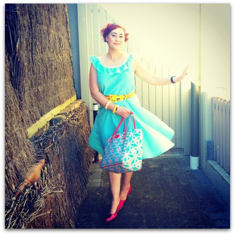Kimba Likes Frocktober | wearing Renew Vintage frock, Alannah Hill hairbow, Kate Spade NY belt and tote, Mimco watch, Keepresin bangles, Forever New flats