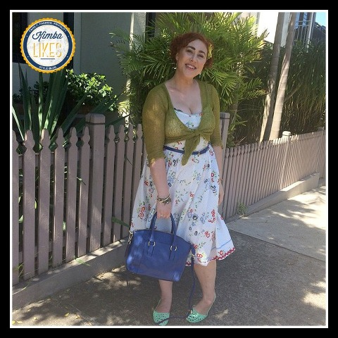 Kimba Likes Frocktober 2014 | Days 11 to 15 | wearing Tilly dress with Chloden London bag, mint Mox, Sportscraft belt, wrap cardigan, Alannah Hill hairbow