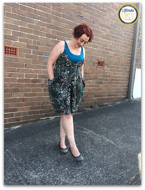 Kimba Likes Frocktober wearing Oasis dress over Verily bamboo slip