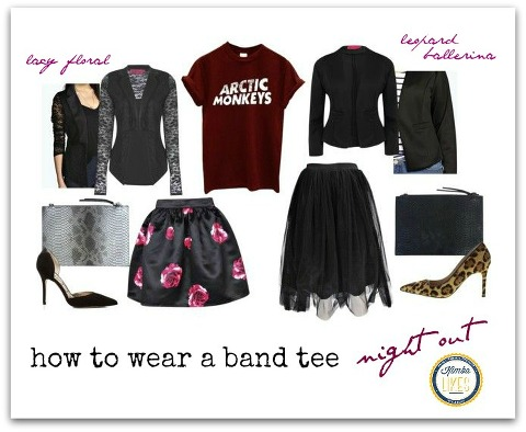How to wear a band tee - all girled up for a night out @kimbalikes #kimbalikes kimbalikes.com